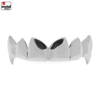 Men's Vampire Dracula Fangs Plain Silver Plated Top Upper Teeth  GRILLZ L055 S - Silver Vampire Fangs