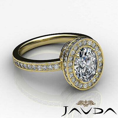 Crown Halo Pave Set Oval Cut Diamond Engagement Ring GIA Certified F VS2 1.82Ct 8