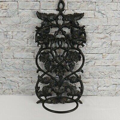 Wrought Iron Plant Hanger 19 x 8 in.  Art Nouveau Black Holds 5.5 Inch Pot