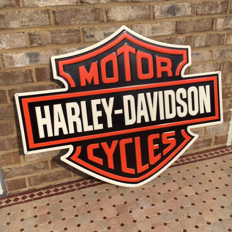Metal Embossed Harley Davidson Emblem Sign Shield Orange Black Motorcycle