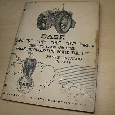 Case Model D Dc Do Dv Eagle Hitch Tractor Parts Manual Book Spare List Catalog