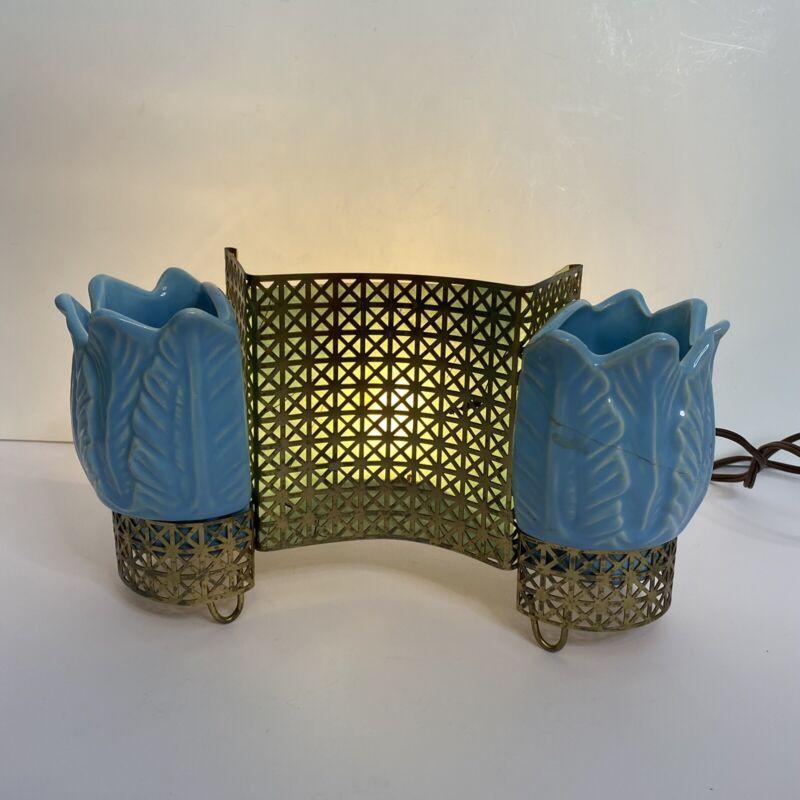 Vintage Unique Mid Century MCM Gold metal Blue Tulip Pottery Lamp