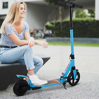 HOMCOM Teens Adult Electric Scooter Foldable w/Flashing Light For Kid -Blue