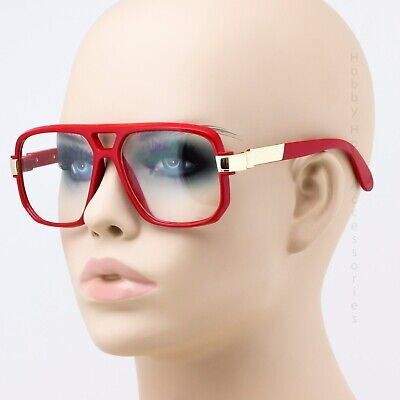 New Clear Lens Retro Gazelle Rapper Style Red Sun Glasses w/ Metal (Retro Rapper)