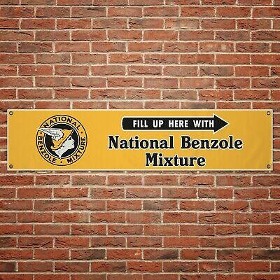 Vintage National Benzole Banner Petrol Gas Pump Garage Workshop PVC Sign