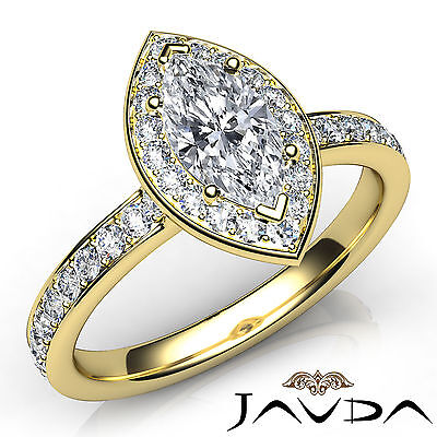 Cathedral Halo Pave Set Marquise Diamond Engagement Ring GIA H Color VS1 0.95Ct