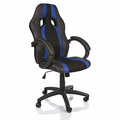 TRESKO® Sedia Poltrona da ufficio girevole per casa Racing Gaming Sportiva Blu