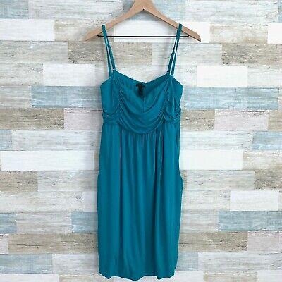 Soma Ruched Soft Jersey Tank Dress Blue Sleeveless Pockets Lounge Womens -
