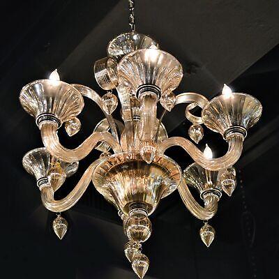 Murano 6 Light Blown Glass in Golden Teak Finish Venetian Chandelier 23