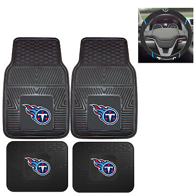 5pc NFL Tennessee Titans All Weather Rubber Floor Mats & Steering Wheel Cover
