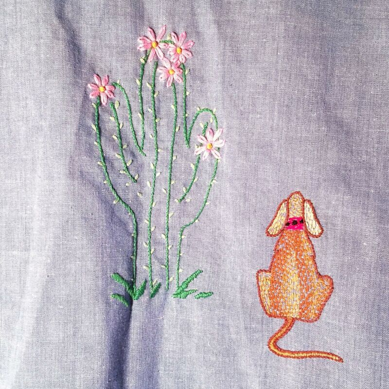 Vintage 70s Embroidered Chainstitch Chambray Long Sleeve Chore Shirt Cactus