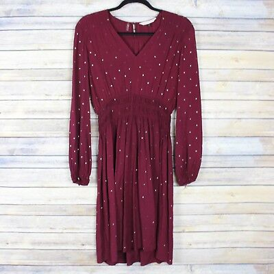 Rebecca Taylor Nailhead Dress Smocked Long Sleeves V Neck Wine Red Rayon Size 2