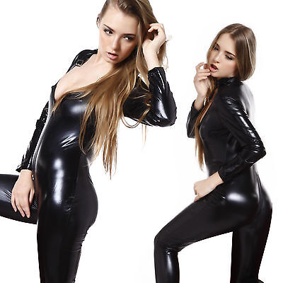 Sexy Wetlook ZIPPER Bodycon Catsuit Zentai Jumpsuit Catwomen Bodysuit Outfit Pro - Catwomen Costume
