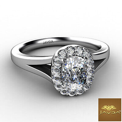Split Shank U Pave Cushion Diamond Engagement Solitaire Ring GIA F VVS2 0.7 Ct 1