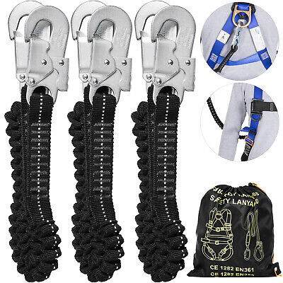3pcs Shock Absorbing Lanyard Fall Protection Safety Lanyard 6ft Double Snap Hook