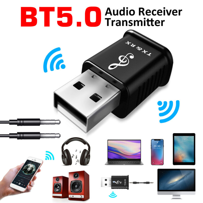 4 in 1 Bluetooth 5.0 Transmitter Receiver USB Audio Adapter Car 3.5mm AUX for TV
