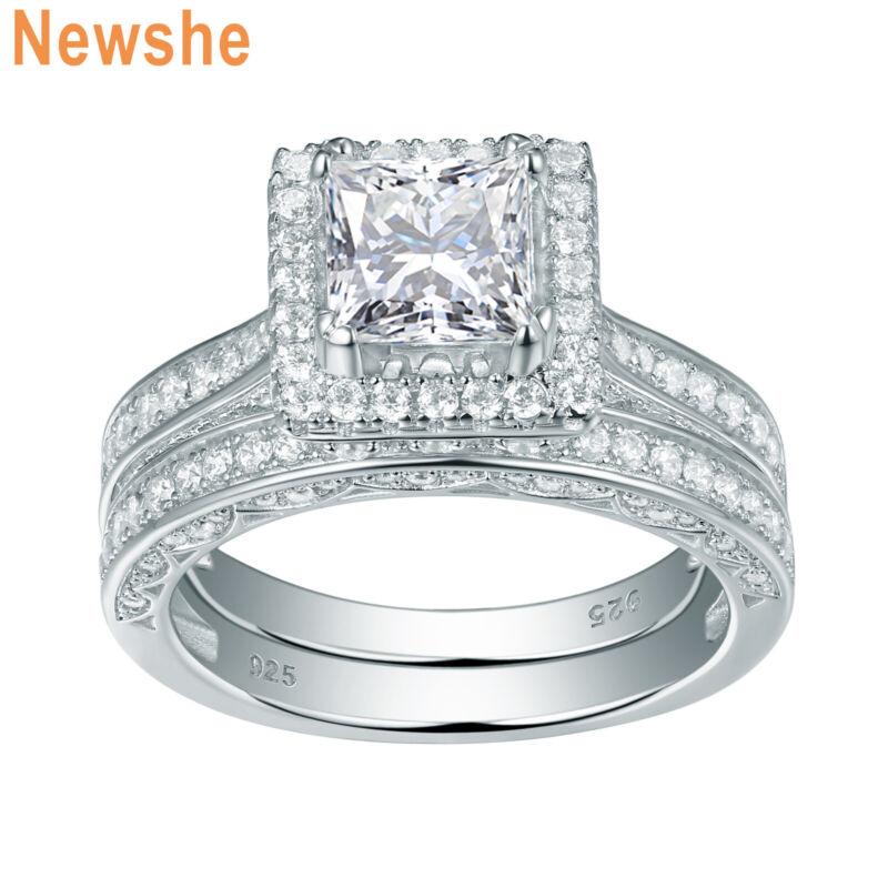 Newshe Women Wedding Engagement Ring Set Sterling Silver 2.8ct Princess Aaaa Cz