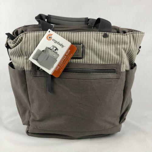 Ergobaby The Coffee Run striped Hybrid Backpack or Handles Diaper Bag NWT Grey