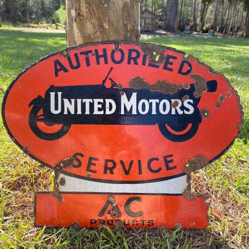 Original 1920's RARE United Motors Service Double Sided Porcelain Sign