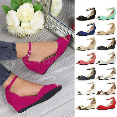 Womens ladies medium wedge heel evening party ankle strap sandals peep toe shoes