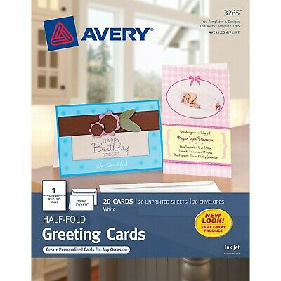 Avery Greeting Cards Inkjet Printers 20 Greeting Cards And Envelopes 5.5 X 8.