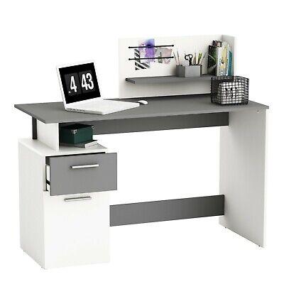 Escritorio platón con altillo blanco y gris oficina despacho estudio 109x122x55