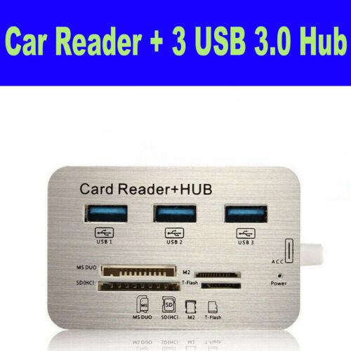USB 3.0 Hub Aluminum 3 PortMS SD M2 TF Multi-In-1 Memory Card Reader Adapter