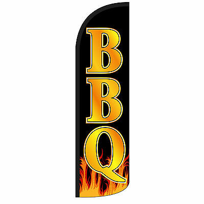 Windless Swooper Feather Flag Tall Banner Sign 3 Wide Bbq Black Gold Flames