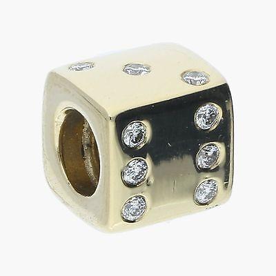 pandora / 14k gold diamond lucky dice bead / charm