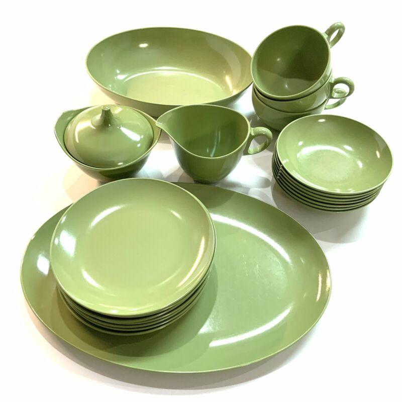 Vintage ONEIDA OD Avocado Green Melamine Dishes-22 Pieces