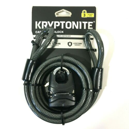 Kryptonite Double Loop Bicycle Cable And Padlock With Lighted Key 6