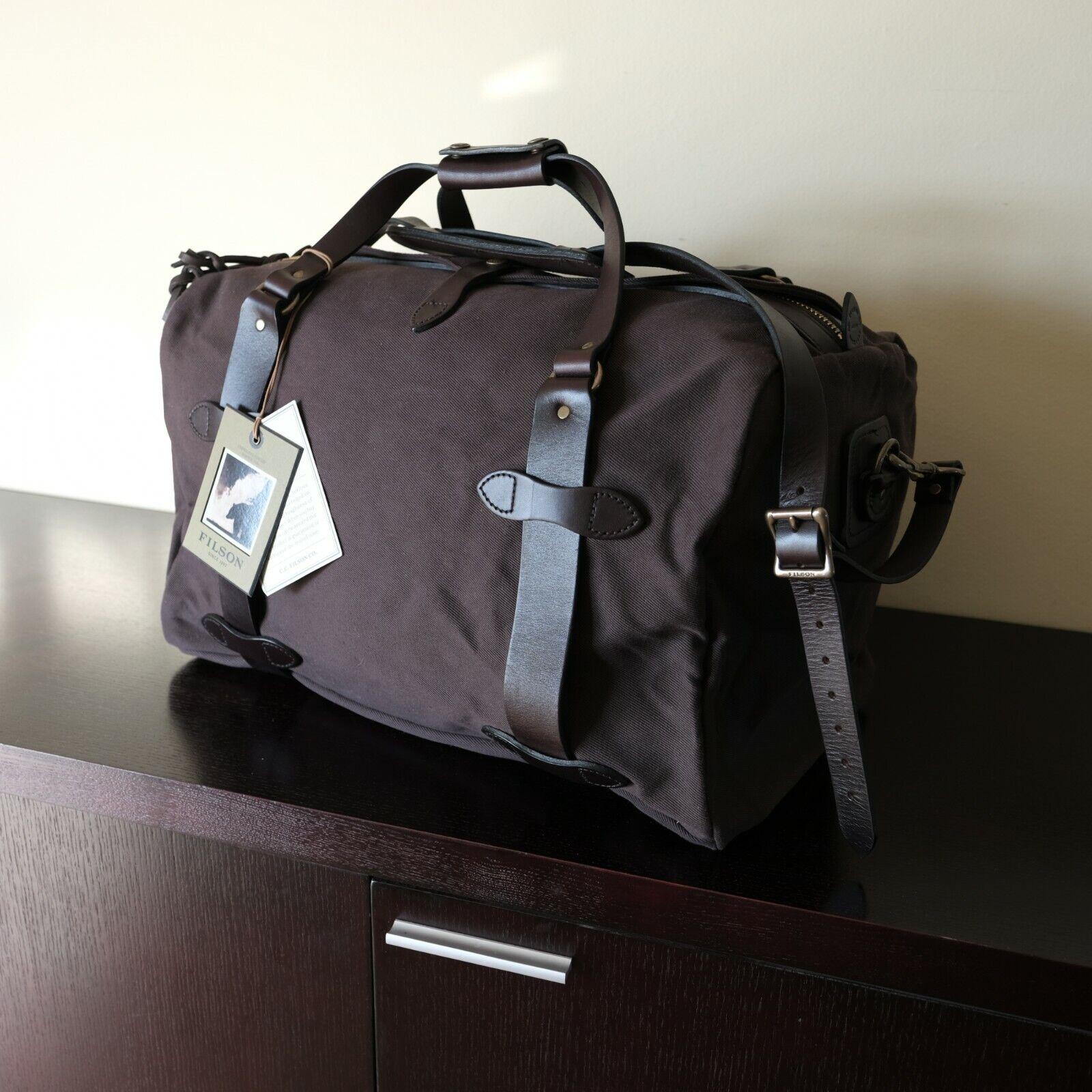 Filson Medium Rugged Twill Duffle Bag Rare Brown Bridle Leat