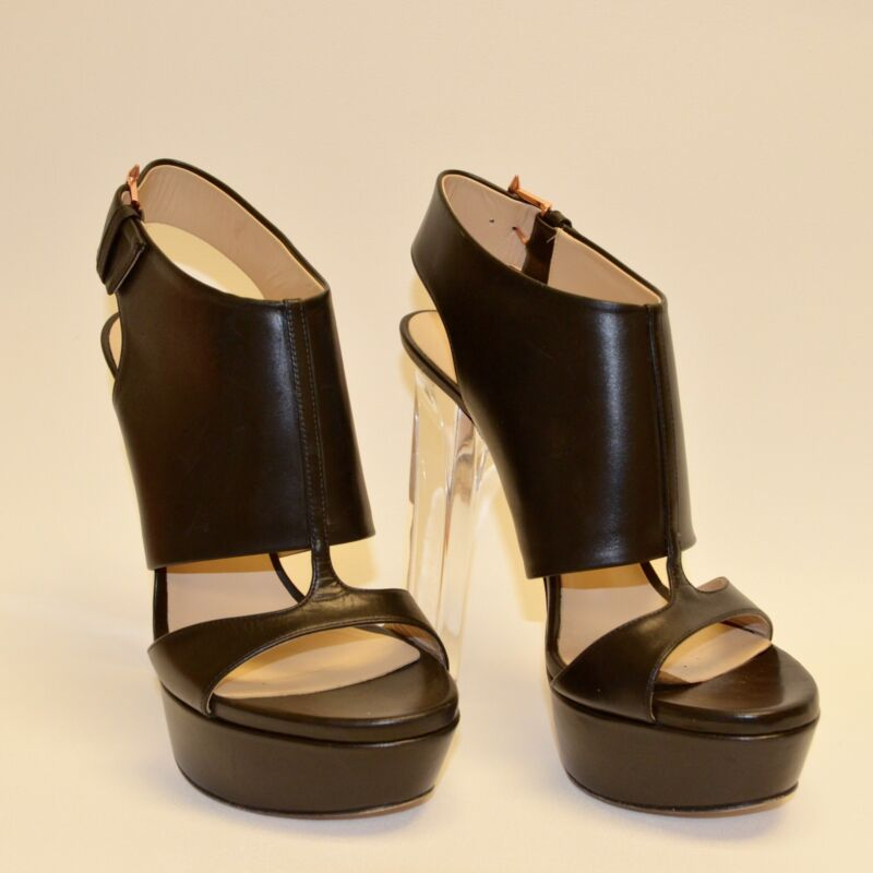 RUTHIE DAVIS Black Leather T-Strap Open Toe Pumps with Acrylic Heels - Size 38