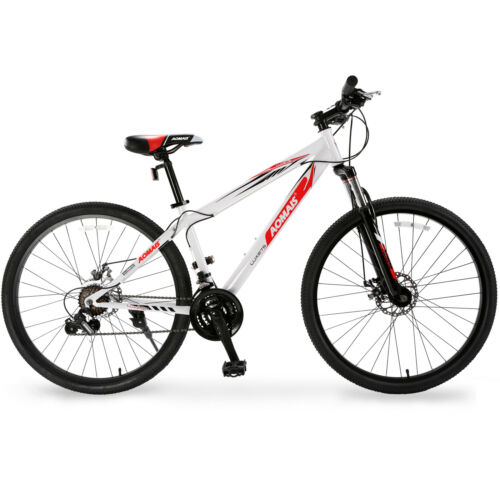 27.5 Mountain Bike Hybrid Bike 21 Speed Front Suspension Bicycles Shimano White