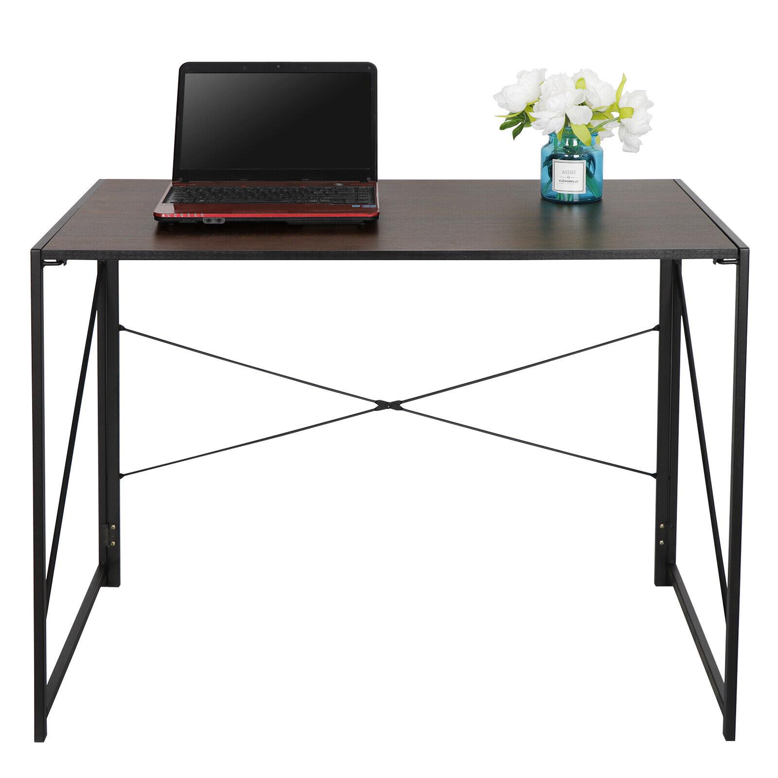 Computer Writing Desk Study Industrial Style Metal Frame Folding Corner Table Furniture