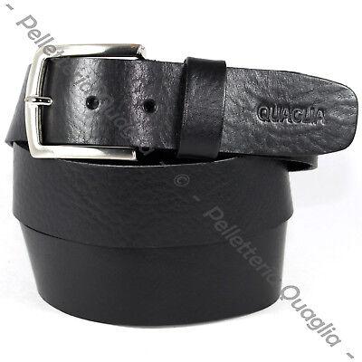 Cintura Pelle Cuoio Nero Uomo Donna Artigianale Made In Italy 4 cm