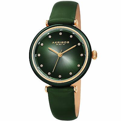 Women's Akribos XXIV AK1035 Swarovski Crystal Markers Leather Strap Watch