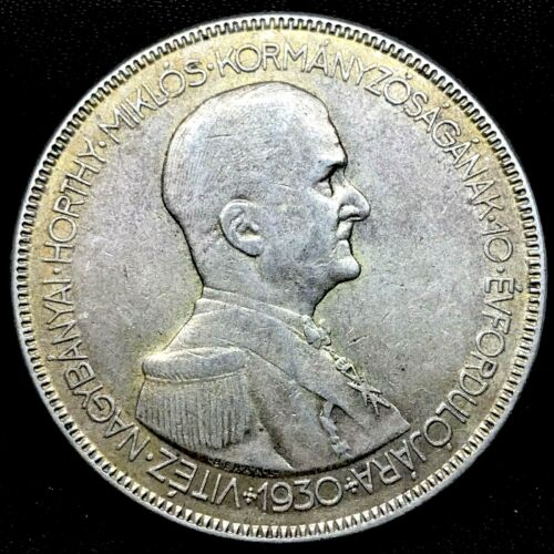 Hungary 5 PENGO 1930 KM#512.1 REGENCY OF ADMIRAL HORTHY SILVER COIN.