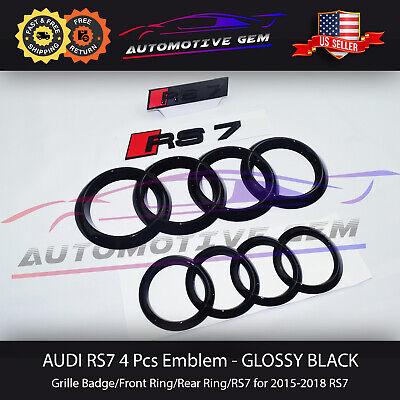 AUDI RS7 Front Rear Curve Ring Grille Emblem Glossy Black Trunk Logo Badge Set