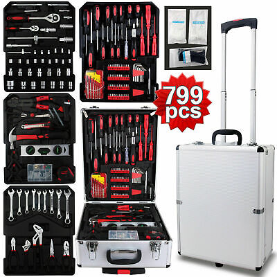 New 799 pcs Tool Set Standard Metric Mechanics Kit with Trolley Case Box