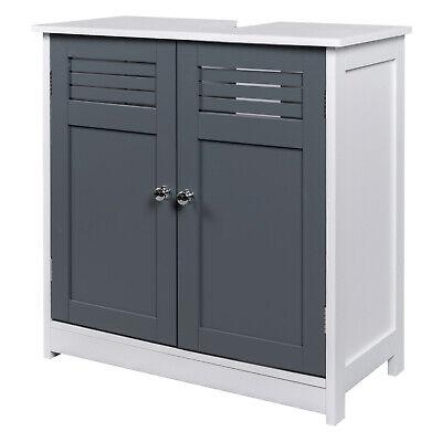 EUGAD Badschrank Waschbeckenunterschrank Waschtisch MDF Weiß & Grau 0117WY