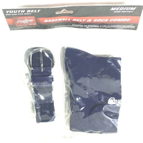 Rawlings Youth Navy Blue Baseball Belt & Sock Combo Pack S, M