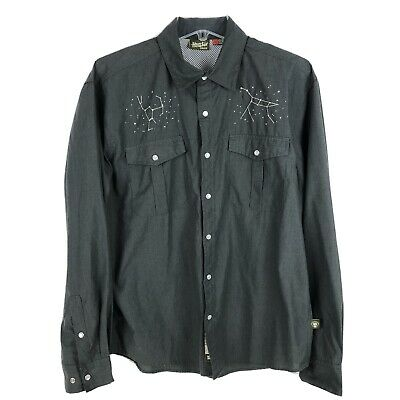 Howler Brothers Pearl Snap Constellation Gaucho Shirt Medium Charcoal Gray Rare