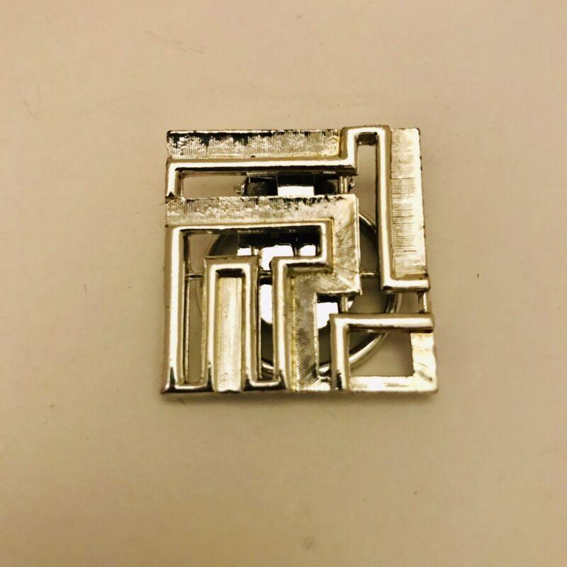 "Vintage Silvertone  Scarf Clip 1"" Geometric Square Shape Metal  J0852"