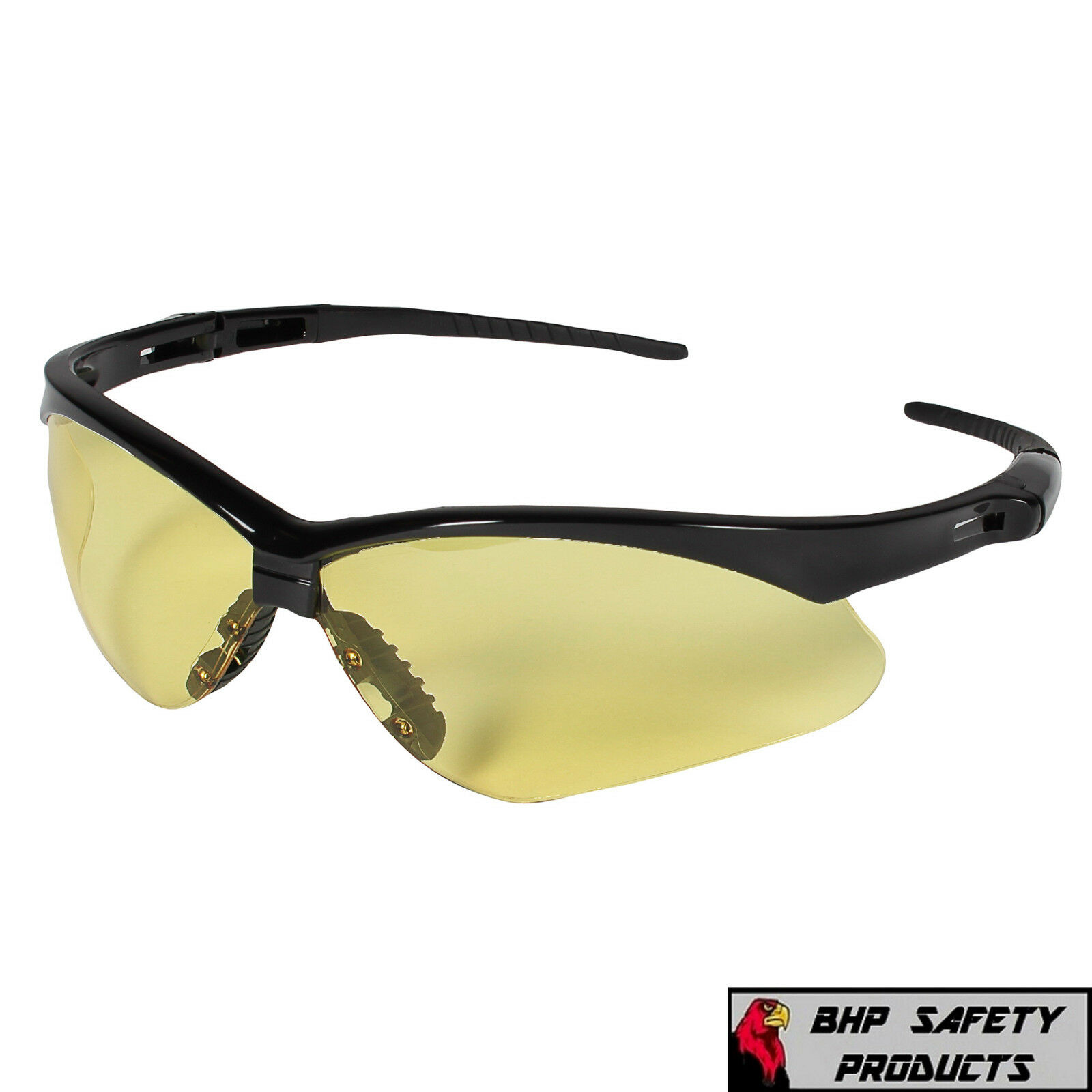 JACKSON NEMESIS SAFETY GLASSES SUNGLASSES SPORT WORK EYEWEAR ANSI Z87 COMPLIANT 25659- Black Frame/Amber Lens