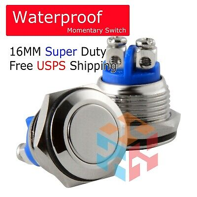 16mm Starter Switch Boat Horn Momentary Push Button Stainless Steel Metal