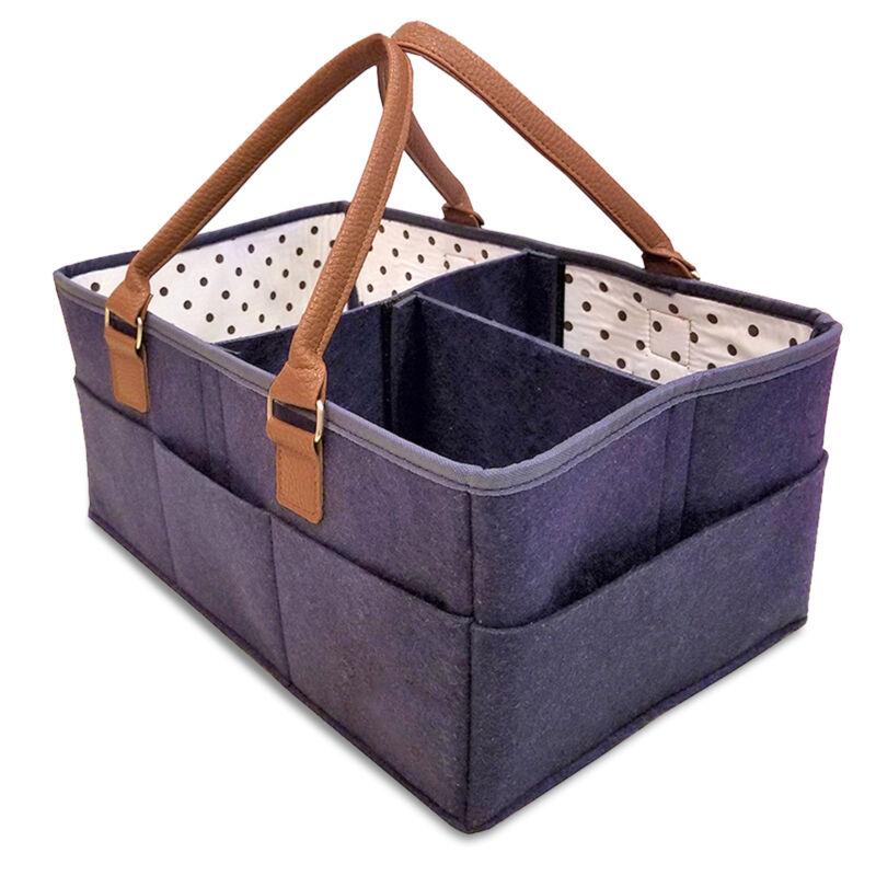 Baby Diaper Caddy Organizer Comfy Carry Nursery Bin – Unisex Navy Blue Portable