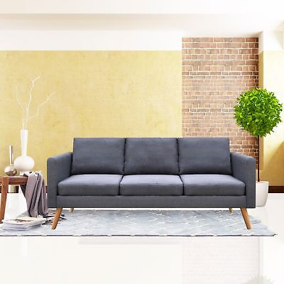Linen Material Sofa Living Room Furniture 3 Seat Sofa Couch with Cushion Gray