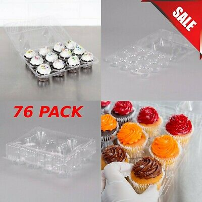 76-pack 12 Compartment Clear Hinged Pet Cupcake Take-out Food Snack Container