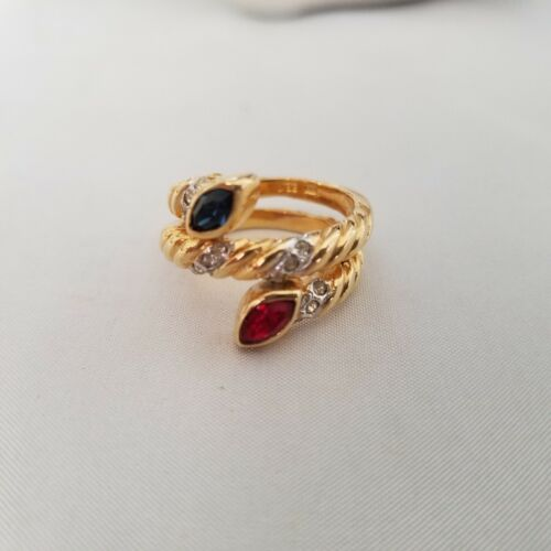 Vintage White Red and Blue CZ 18K Gold Plated Band Ring Size 6